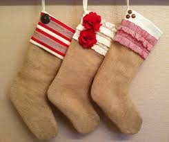 shabby chic burlap christmas stocking red and white