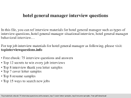 Hotel General Manager Resume Samples by Hotel General Manager Interview Questions
