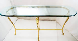half oval console table oval console table brass and glass jensen style modern white accent