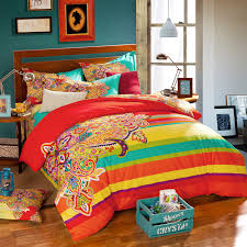 Cheap King Size Bedding Sets Bohemian Style Colorful Geometric Patterns And Rainbow Striped
