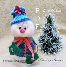 knitting pattern snowman christmas toy knit snowman