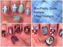 bornpretty store review 3 nail designs winter glitter blue