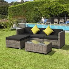 canapé d angle jardin salon de jardin résine tressé poly rotin structure en aluminium 5