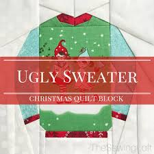 The Ugly Christmas Sweater Party - ugly christmas sweater quilt block ugliest christmas sweaters