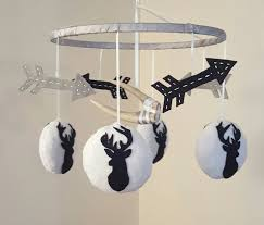 Boy Nursery Chandelier Austin Deer Baby Mobile Antler Arrows Navy Blue White