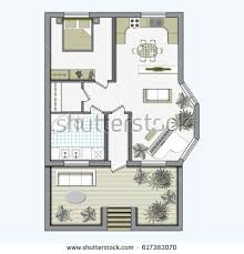 Color Floor Plan Set Top View Interior Icon Design Stock Vector 625491731