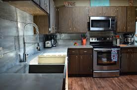 kitchen contemporary concrete countertop apron farmer sink built