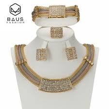 african jewelry necklace set images High end luxury wedding african jewellery set three color fashion jpg