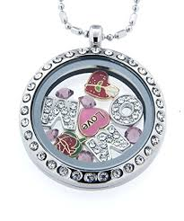 jewelry charm necklace images Round necklace floating charm locket with bamboo chain jpg