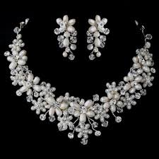 swarovski crystal necklace set images Freshwater pearl swarovski crystal bead floral vine jewelry set jpg