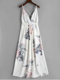 white maxi dress floral criss cross back slit maxi dress white maxi dresses s zaful