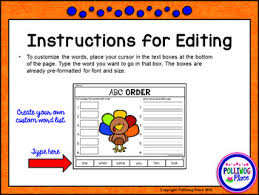 abc order cut and paste activity thanksgiving editable by