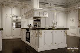 classic kitchen wooden island lacquered romantica ivory