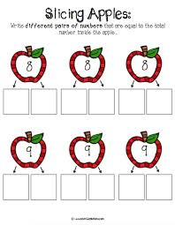 number bonds with apple slices free printables