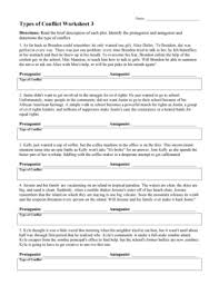 fillable online types of conflict worksheet 3 pdf reading