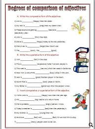 best solutions of degrees of adjectives worksheets for grade 6 in
