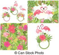 illustration exotic wallpaper with parrot ara pink eps vector