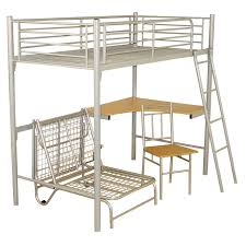 Metal Bunk Bed Frame Metal Loft Bed With Futon And Desk Home Furniture Decoration