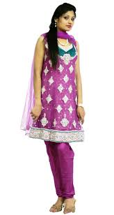 magenta mauve color designer suit is made on net with stone