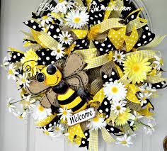 deco mesh wreath summer wreath front door wreath bumble bee