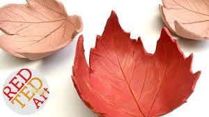 leaf bowl diy easy fall crafts air drying clay how to youtube