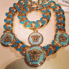 turquoise gold chain necklace images Blue gold versace chain bracelet pinterest jpg
