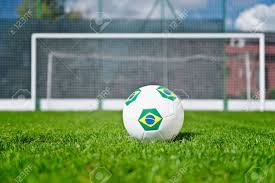 Football Penalty Flags Brazilian Soccer Ball On Penalty Spot Stock Photo Picture And