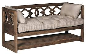 Wooden Benchs Gabby Modena Linen Tufted Wooden Bench Traditional Accent And