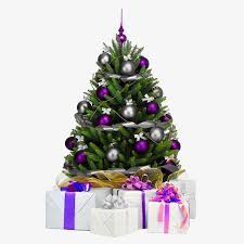 purple christmas tree purple ball white box gift box png image