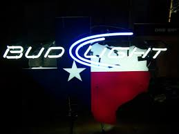 bud light light up sign state of texas bud light neon sign red white blue 28 5 x35 no