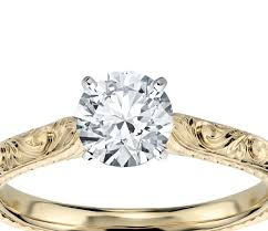 diamond engraved rings images Diamond engraved solitaire engagement ring in 18k yellow gold jpg