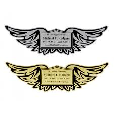 shield wings urn name plates in the light urns