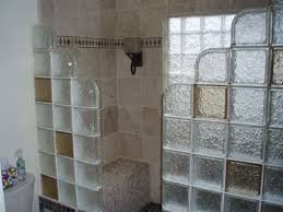 glass block bathroom ideas with step down glass block shower with