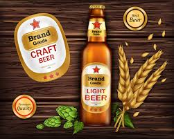best light craft beers glass brown bottle with craft beer vector free download