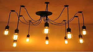 lightess spider pendant lighting industrial edison lamp ceiling