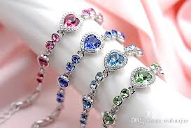 pink heart bracelet images Women fashion jewelry pink blue green white color heart crystal jpg