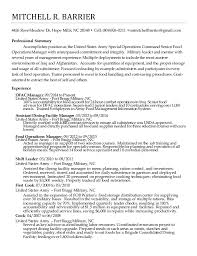 Army Resume Example by Food Service Manager Resume