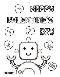 happy valentine u0027s cute robot coloring kids play