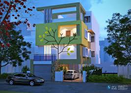 Residential Building Elevation by 3d Night View In Artist Style Of Bungalow Beautiful House