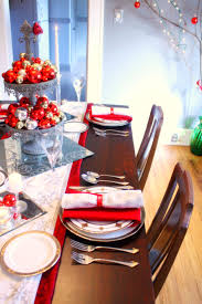 bedroom red and silver christmas table setting decoration