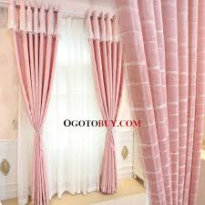 Pink Curtains For Girls Room Pink Gingham Print Chenille Thermal Elegant Curtains For Bedroom
