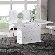White Gloss Dining Table And Chairs Levono Glass High Gloss Dining Table In White With Rhinestone