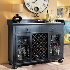 Furniture Wine Bar Cabinet Worn Black Wine Bar Console Stemware Glasses Spirits Storage 695002