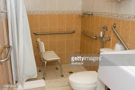 Armchair Toilet Handicap Accessible Shower With Grab Bars And A Chair Stock Photo
