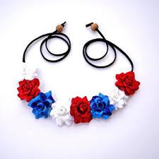 white and blue headband shop hippie flower headband on wanelo