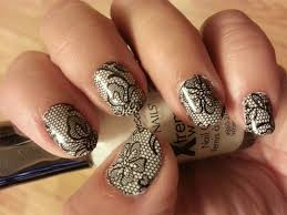 black lace nail art decals long or short nails use over any color