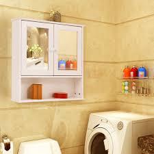 wooden bathroom wall cabinet mirrored doors cupboard