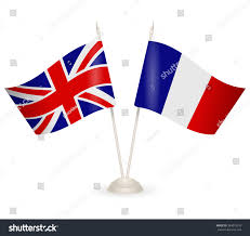 table stand flags england france symbolizing stock vector