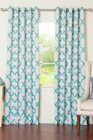 White And Blue Curtains And Blue Moroccan Blackout Curtain