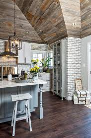 home interior and gifts catalog grey shiplap walls farmhouse kitchen with whitewashed brick wall